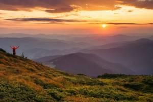 Карпатські гори із вершинок смерек
